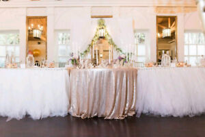 Two Ceremony, Wedding, Party Table Cover and Table Skirt