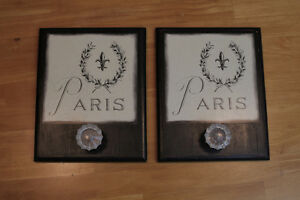 Shabby chic Parisian style - wall plaque/hanger and storage
