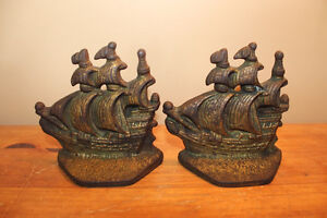 Vintage Pair of Ship Bookends