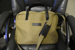 Brooks Brothers Satchel / Messenger Bag, Tan Khaki Canvas