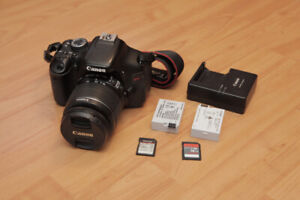 Canon T3i, 18 - 55mm f/3.5-5.6 w/ 2 batteries and 2 SD cards