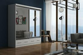 **DELIVER SAME DAY GUARANTEE!*150 CM*WHITE MARGO MIRROR Sliding Door Wardrobe -SAME DAY DELIVERY!