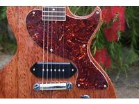 Handmade, vintage inspired offset body electric guitar in faded cherry