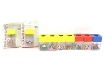 Lot Of 9 Pentapco Vintage Paper Clips Holders With Clips Colored Magnetic Strip