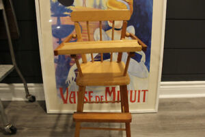 Antique Solid Pine Doll High Chairs