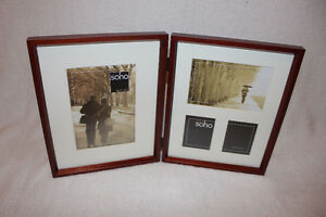 Brand New In box double photo frame in Mahogany.