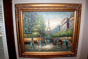 Framed Paris Painting - Oil on Canvas