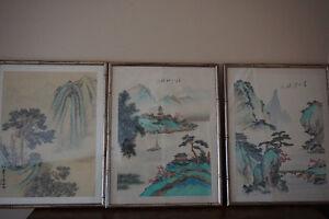 3 oriental chinese paintings on silk. Gatineau Ottawa / Gatineau Area image 2