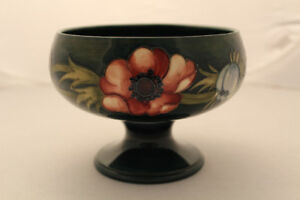 VTG Walter Moorcroft Art Pottery Anemone Floral Compote England