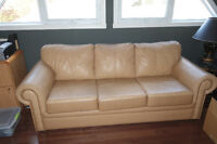 Divan-Lit 3 places en cuir de couleur beige / Sofa Bed 3 Leather