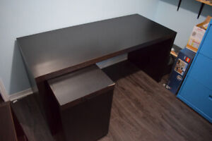 IKEA Malm Desk with Pull-out Extension in Black/Brown colour