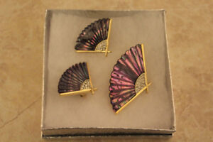 5th Avenue Costume Jewelry. Brooch and Clip On Earring Set