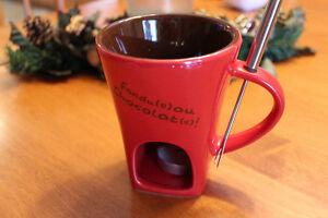Personal Chocolate Fondue Mug Set, Fork & Tea Light, Like New!