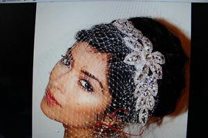 Birdcage Veil  Ivory and Crystal Headpiece