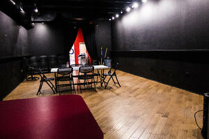 Black box room, wood floors event, artistic/rehearsal space