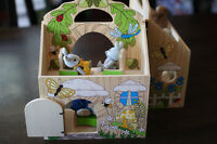 Wooden doll house with calico critters
