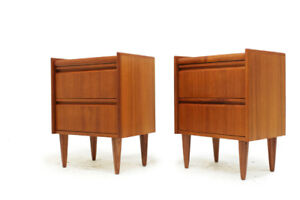 Mid Century Modern Teak Two Drawer Bedside Tables or side Table