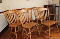 AMISH COLONIAL ARROW BACK OAK CHAIRS FOR OAK TABLE