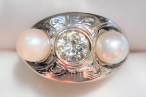 ANTIQUE European cut Diamond 18k White Gold Natural Pearl Ring
