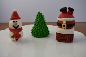 Christmas Fondant Cake Toppers (set of 3)