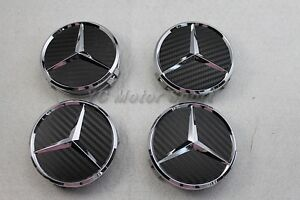 Carbon looking wheel center cap emblem hub cap 75mm for for Mercedes benz wheel cap emblem