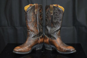 Leather steel toe Cowboy boots size 10