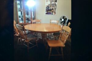 Solid Oak table and chairs.