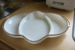 Milk Glass Gold Trimmed Divided Dish ( like new)