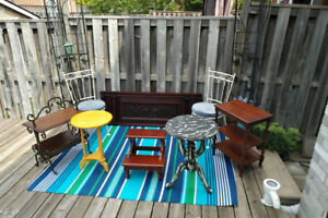 CHAIRS, TABLES,ANTIQUE PIANO FRONT +MORE* SEE EACH PRICE