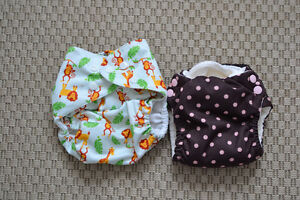2 Pocket Diapers, one size and a small