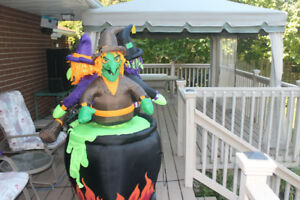Halloween Witches in Cauldron -  with lights and motion