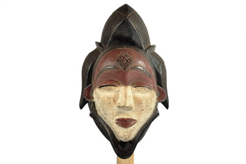 "Gorgeous Multi-Toned Punu Mask Gabon 13"" tall"