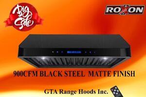 900CFM BLACK MATTE UNDER CABINET BAFFLE FILTER  RANGE HOOD $499