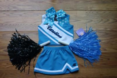 CAROLINA PANTHERS CHEERLEADER OUTFIT HALLOWEEN COSTUME  2T POM POMS BOW CHEER - Panthers Cheerleader Costume
