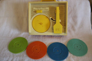 Vintage Fisher Price Record Player with 4 Records