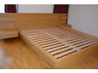 IKEA MALM OAK DOUBLE BED w/2x DRAWER UNITS & SULTAN POCKET SPRUNG MATTRESS