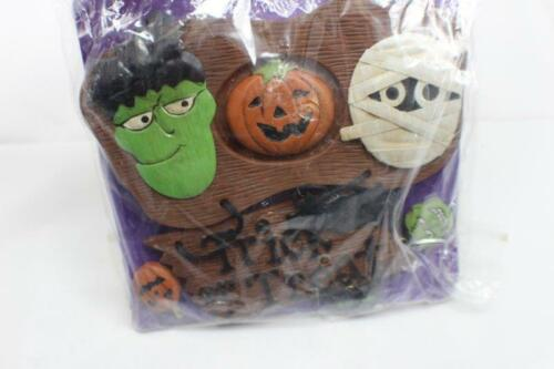 "Halloween Wall Plaque 7"" x 7"" Mummy Frankenstein Pumpkin Trick or Treat NEW NIP"