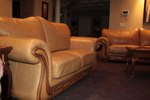 Living room leather furniture and tables
