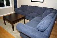 Large Corduroy Fabric Sectional Sofa/Couch - Excellent Condition