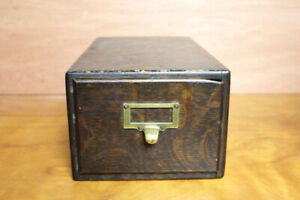 Antique Dark Wood Card File Cubbie Drawer Cabinet
