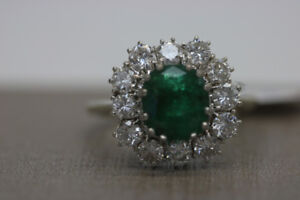 **EXQUISITE** 18KT White Gold Emerald Cluster Ring (#2014)