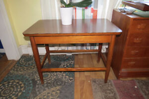 SOLD SOLD Mid-century side table with solid teak base