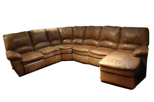 Elran Sectional Brown Leather Sofa