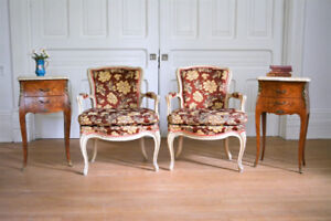 Antique Pair of French Salon Chairs..from France..19th Century.