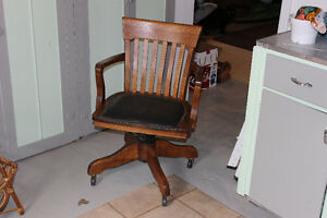 Wooden Desk Chair complete with casters