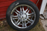 8 hole  tires and rims, c/w with lug nuts fit chev, ford, dodge