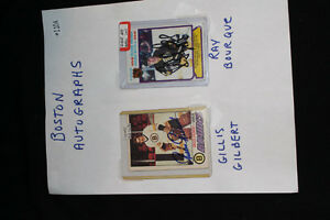 GILLES GILBERT & RAY BOURQUE SIGNED HOCKEY CARDS