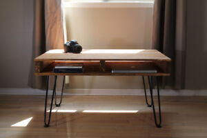 Rustic Wooden Pallet Style Coffee Table with Hairpin Legs