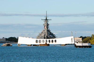 USS Missouri Battleship Stands Guard By USS Arizona Memorial 8.5x11 Color Photo
