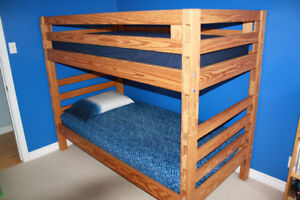 Crate Design Twin Ladder End Bunk Beds with mattresses
